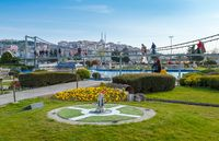Istanbul, Turkey - March 23, 2019: Miniaturk is a miniature park at the north-eastern shore of Golden Horn in Istanbul. The park contains 122 models. Panoramic view of Miniaturk