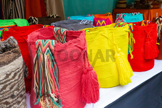 Bogota market of Usaquen colored wool bags