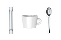Coffee cup, sachet with sugar and spoon