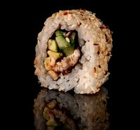 Single sushi roll california rotated