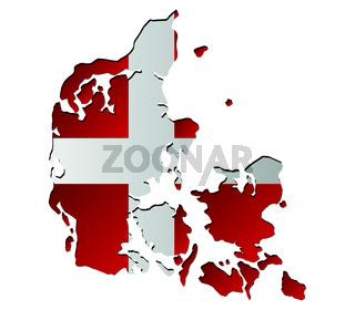 denmark map with flag