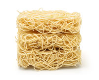 Stack of dry uncooked ramen noodles