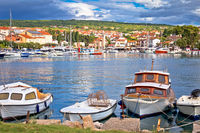 Krk. Town of Malinska harbor and waterfront view