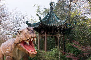 Dinosaur and a gazebo