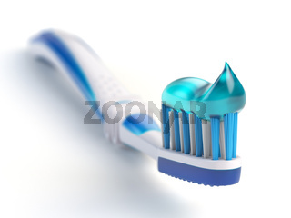 Toothbrush with paste isolated on white background.