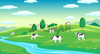 Colorful farm summer landscape, blue clear sky with sun, cows on field