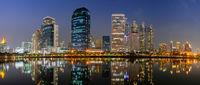 Panorama building city night scene in Bangkok, Thailand.