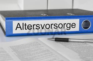 Folder with the german label Altersvorsorge -  Pension Plan