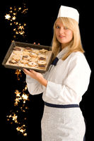 Baker with Christmas biscuits