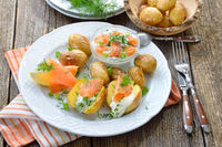 Baby potatoes with herb curd and salmon