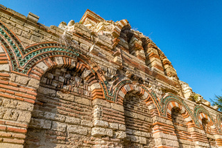 Details of the Church of Christ Pantocrator in Nessebar ancient city. Nesebar, Nesebr is a UNESCO World Heritage Site. An ancient Byzantine architecture church in Nessebar, Bulgaria