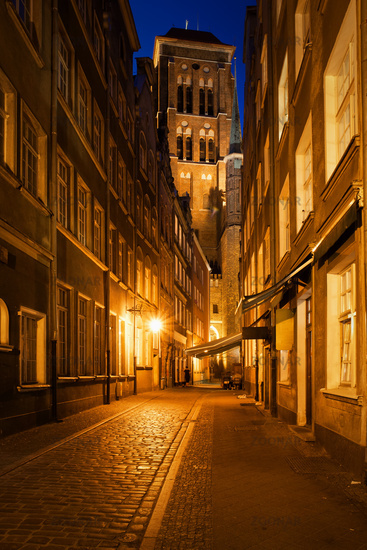 Old Town of Gdansk by Night in Poland