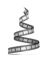 Film strip in the form of a Christmas tree. Film reel. Happy New Year for photographers, videographers, film production, etc. 3d illustration on white