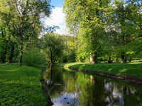 The small Panke river in the Castle park in Pankow in Berlin