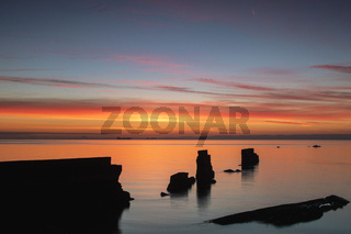 Seawall at Seafield, Kirkcaldy at sunrise