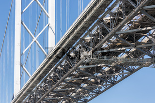 Construction detail Forth Road Bridge over Firth of Forth, Scotland
