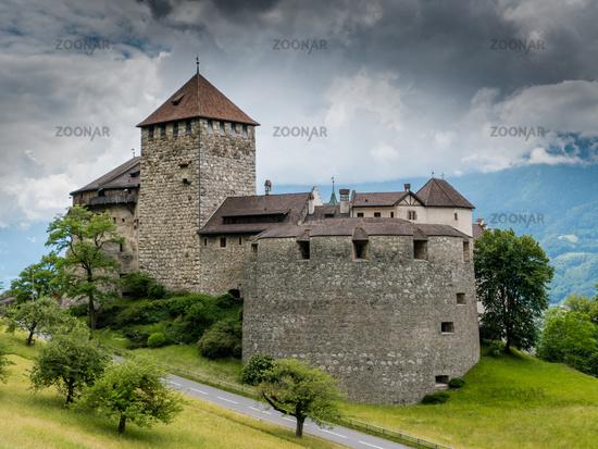Vaduz, FL / Liechtenstein - 16 June 2019: A view of the historic Vaduz Castle in the capital of the
