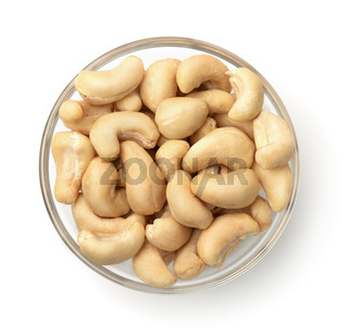 Top view of bowl with cashew nuts
