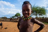 Hamer tribe kid posing, Omo valley