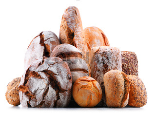 Composition with assorted bakery products isolated on white