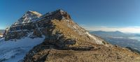 Panoramic scenic view of Mount Timpanogos summit