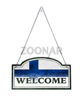 Finland welcomes you! Old metal sign isolated