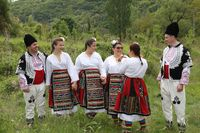 People dressed with traditional Bulgarian authentic folklore clothes