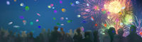 stars and lights pattern of bright sparkling colorful fireworks, people silhouettes, crowd