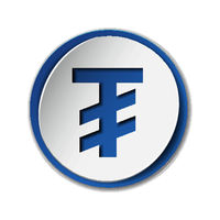Mongolian tugrik currency symbol on round sticker with blue backdrop