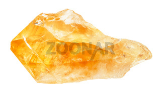 raw crystal of Citrine gemstone isolated