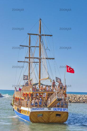 A Gulet Leaving Harbour,, Manavgat, Turkey
