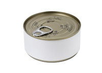 Tin can with blank label and with key on the cap, isolated on white background.