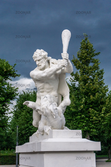 Statue of a strong man in Karlsruhe in Germany