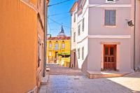 Krk. Town of Omisalj old mediterranean stone street view
