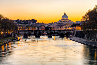 Sunset view of St. Peter's Basilica in Vatican city state
