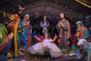 Nativity scene, Christmas at Basilica of the Sacred Heart of Jesus, Pondicherry