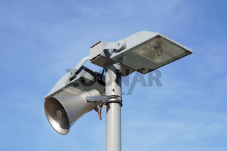 street light lamp post with loud speaker