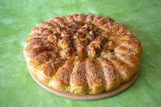 Traditional croatian Pogaca cake bread view
