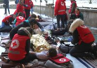 Sofia, Bulgaria - December 5, 2019: Volunteers from Bulgarian Red Cross Youth (BRCY) participate in