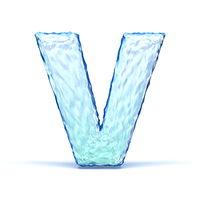Ice crystal font letter V 3D