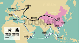 One belt one road. New Chinese trade silk road. Vector map infographics
