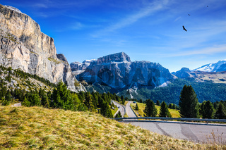 Picturesque road through the Sella Pass