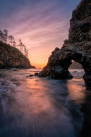 Trinidad State Beach, California at Sunset with Rock Arch