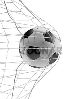soccer ball soccer goal 3d-illustration isolated