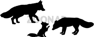 Fox family Silhouettes of animals