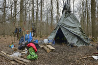Camp of environmental activists in the Hambacher Forst