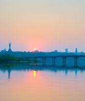 Dnipro river Paton bridge Kiev