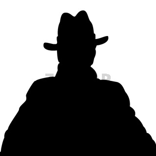 Silhouette of a man in a coat and hat