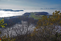 View from the Bolberg swabian alb over the foggy Alb foreland,