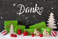 Snowflakes, Tree, Gift, Ball, Danke Means Thank You